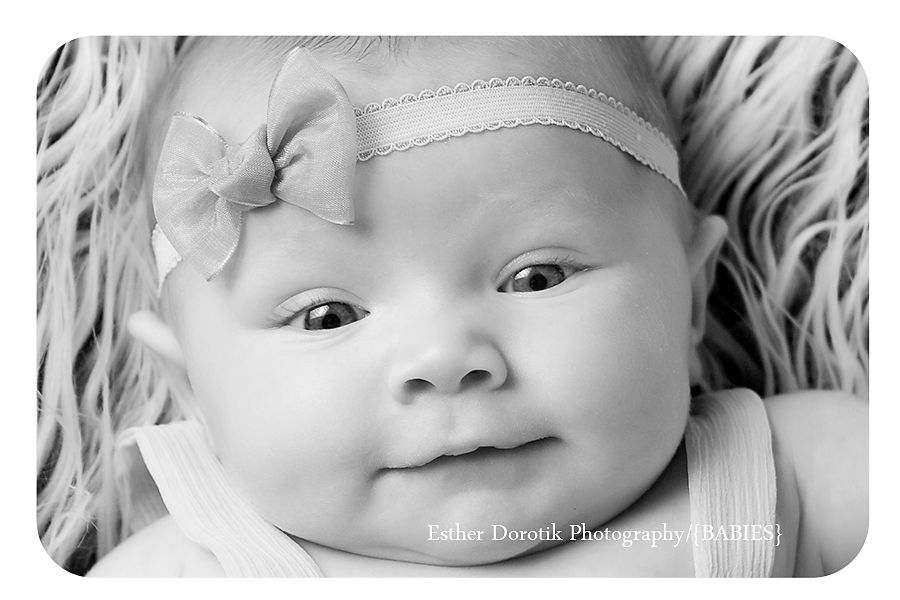 DFW-infant-photographer-close-up-of-3 month-baby-in-black-and-white