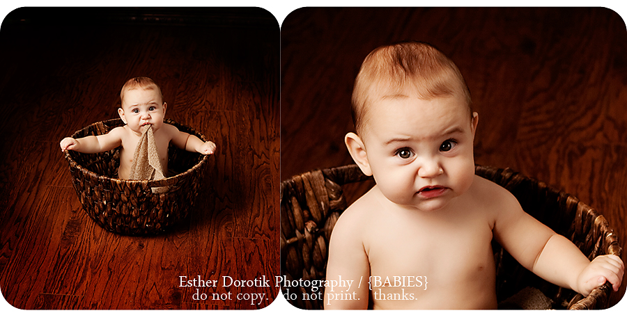 beautiful-photo-of-a-7-month-old-sitting-in-basket-with-a-funny-look-on-his-face