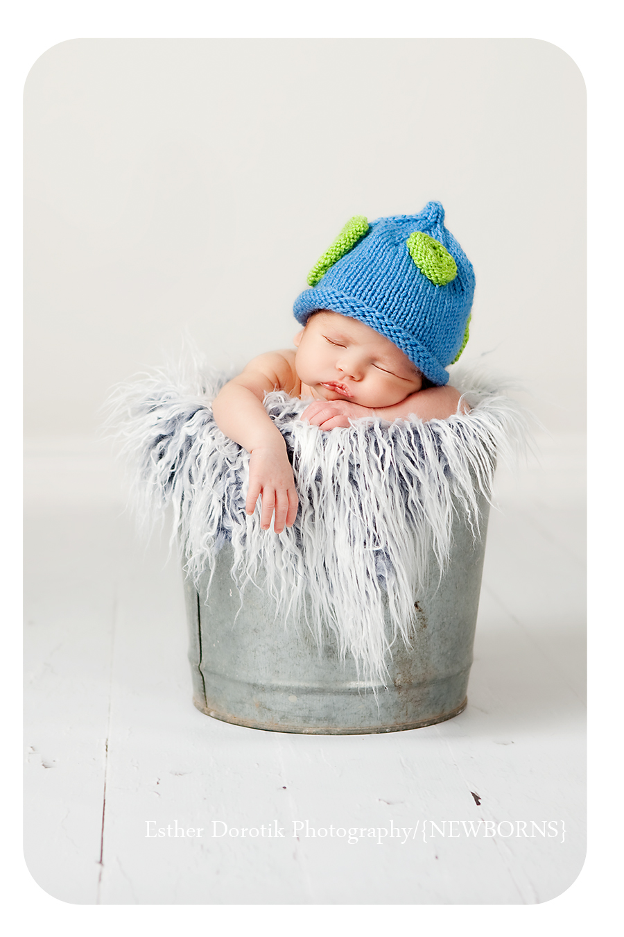 newborn-baby-boy-in-metal-bucket-with-blue-hat-green-dots-in-fur