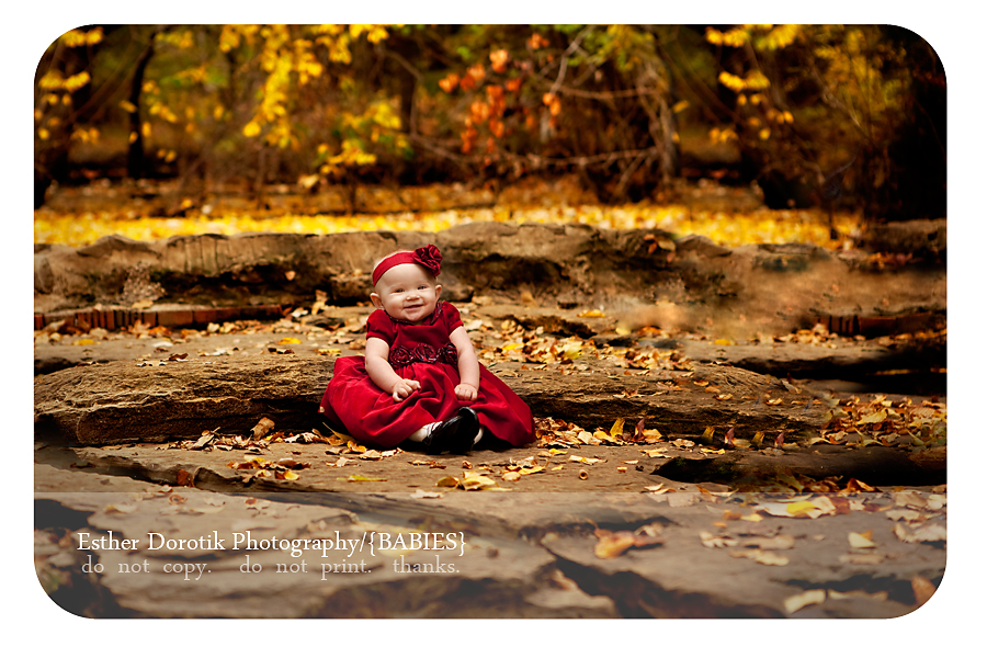 6-month-old-baby-girl-in-dress-outside-with-fall-leaves-taken-by-creek-area-in-flower-mound