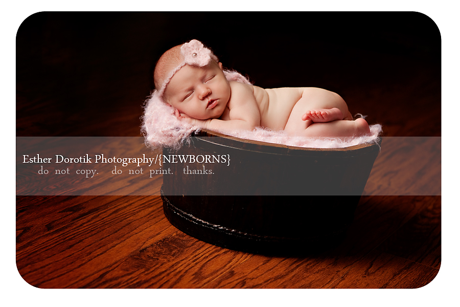 10-day-old-newborn-baby-with-pink-headband-in-brown-basket-taken-by-dallas-photographer