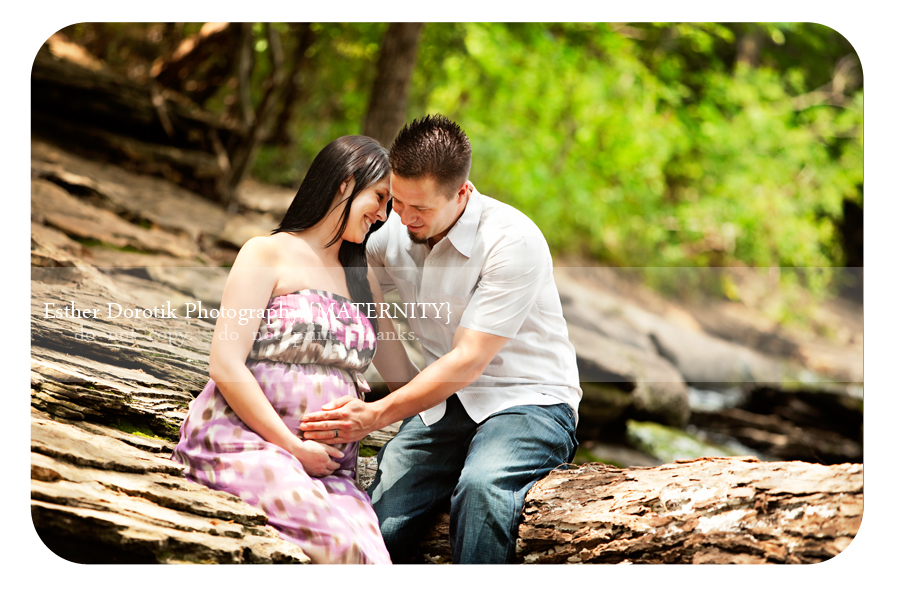 expecting-couple-taken-by-Dallas-photographer-in-creek-area