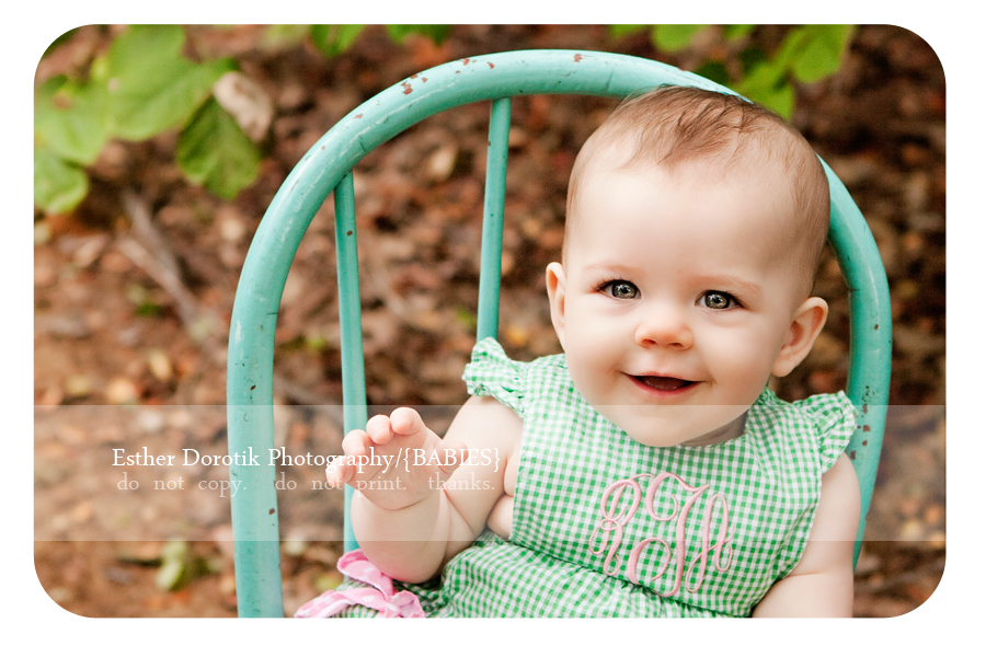 6-month-baby-girl-outdoors-in-wooded-area-by-Fort-Worth-infant-photographer