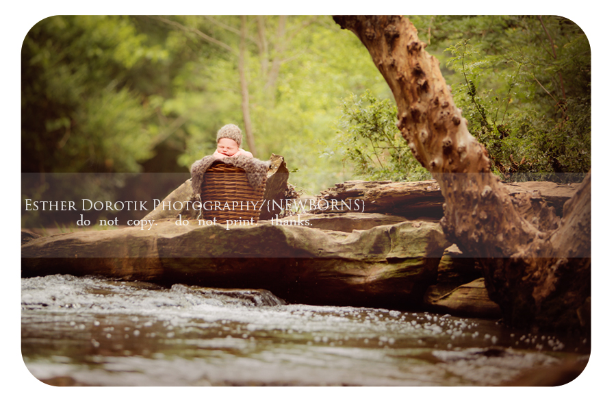 beautiful-newborn-photography-captured-outdoors-with-rocks-and-creek-by-Dallas-newborn-photographer