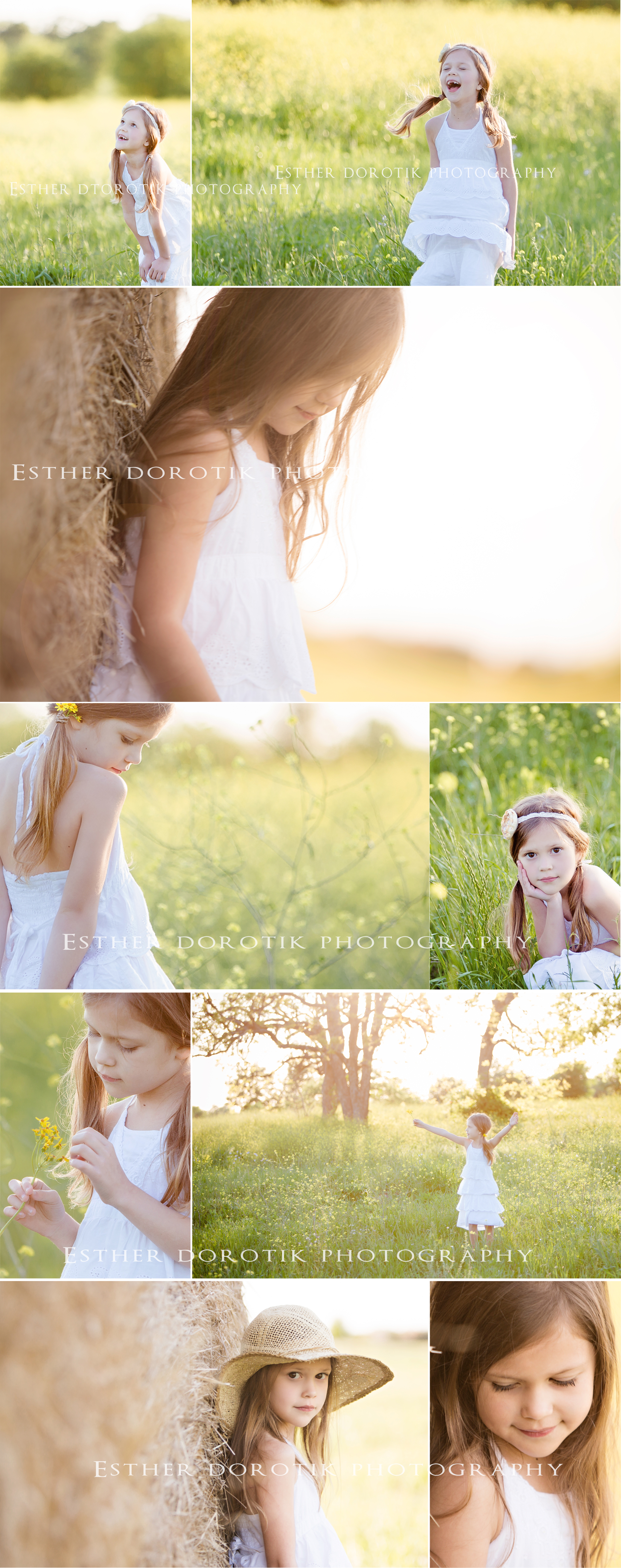 7-year-old-girl-in-yellow-flower-field-during-sunset-session-by-Dallas-photographer