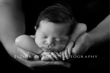 newborn-photography-of-baby-girl-laying-in-dad's-hands-and-frog-pose-by-Dallas-newborn-photographer