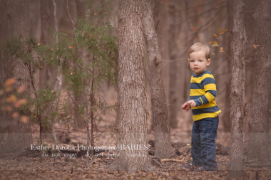 2-year-old-boy-picture-standing-in-woods-by-Lewisville-baby-photographer