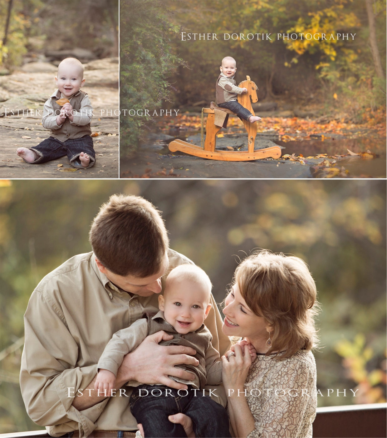 fun-outdoor-family-photo-session-with-7-month-old-sitting-on-rocking-horse-in-creek-by-Dallas-family-photographer