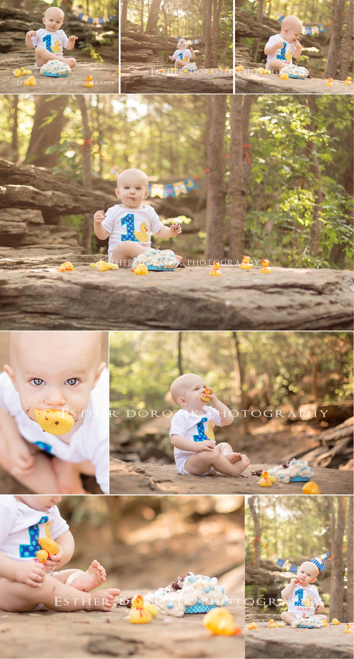 one-year-old-smash-cake-session-with-rubber-ducks-in-creek-area-by-Dallas-baby-photographer