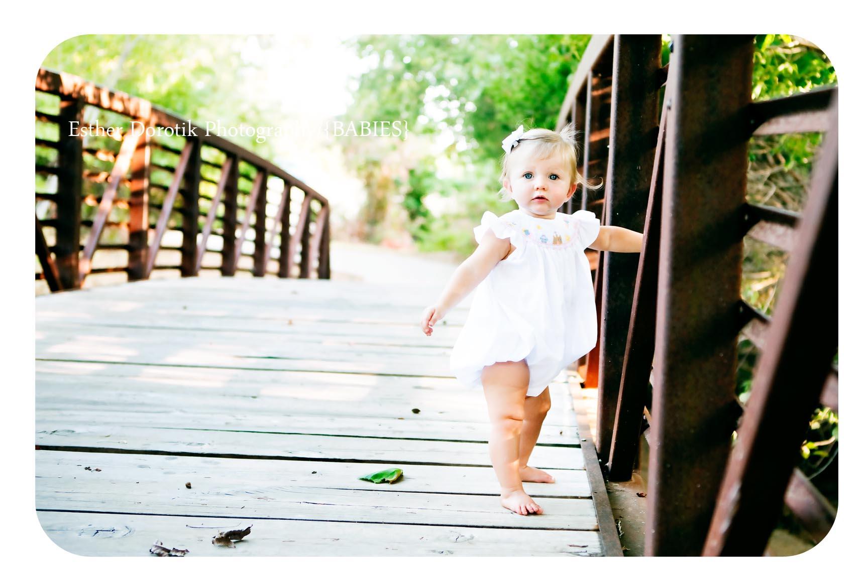 baby on bridge photography