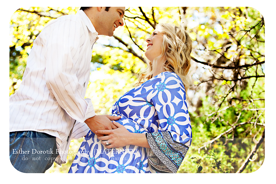 unique-maternity-session-outdoor-with-couple-laughing-and-looking-at-each-other
