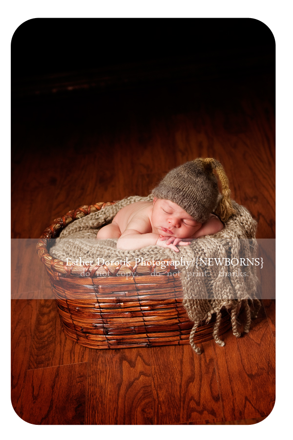 newborn-baby-boy-in-a-basket-with-taupe-blanket-and-stocking-hat