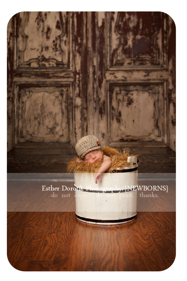 newborn-twin-boy-laying-in-cream-basket-with-fur-and-newsboy-hat