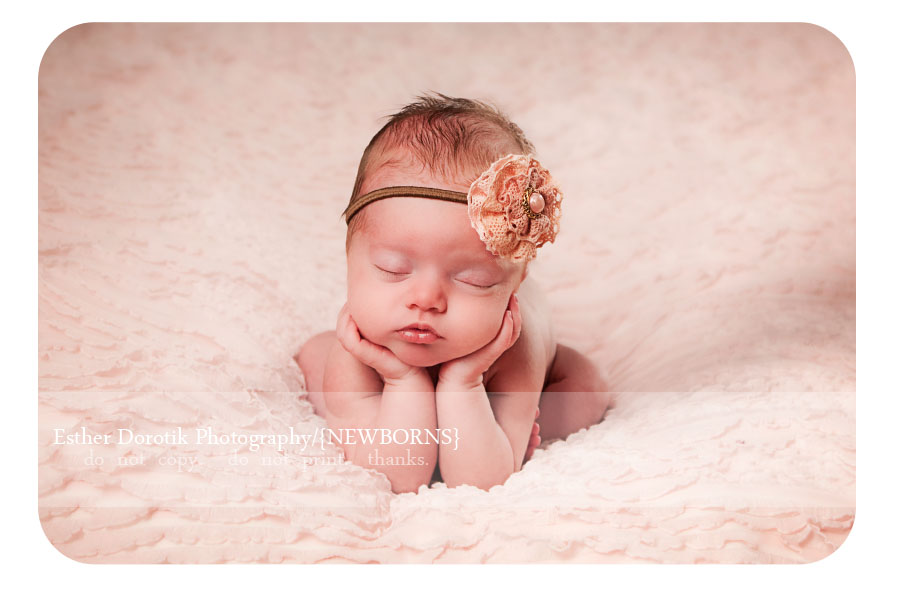 Newborn photographer poses baby with hands under her