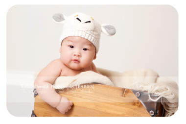 three-month-photography-of-infant-baby-sitting-in-box-with-lamb-hat-on