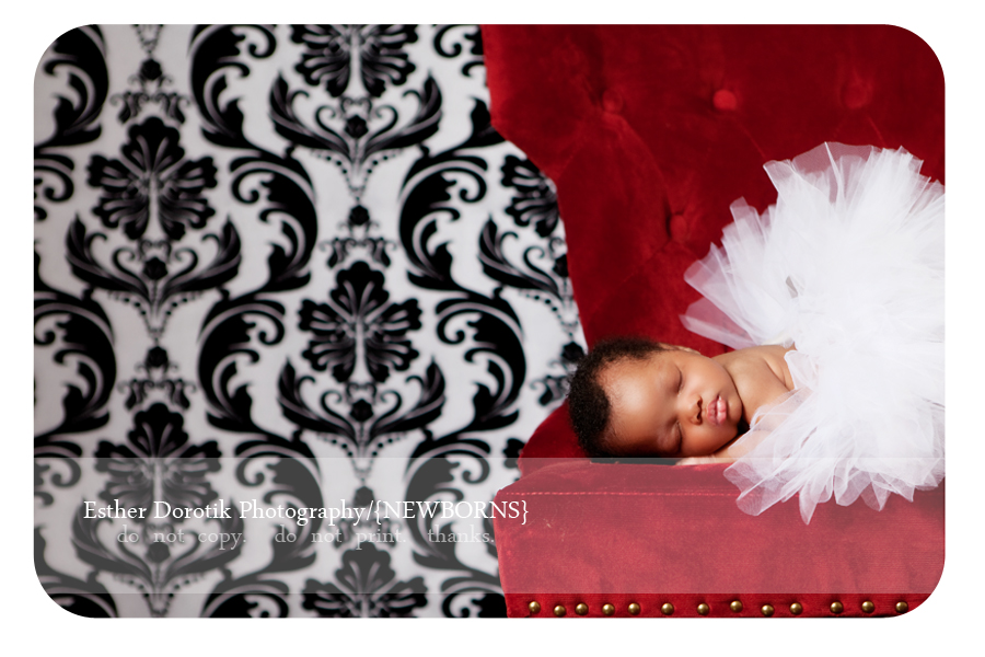 Frisco-newborn-photographer-captures-3-week-old-baby-girl-on-red-chair-with-white-tutu