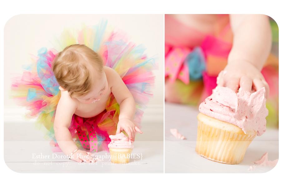 Dallas-infant-photographer-captures-baby-girl-smashing-cake-in-colorful-tutu