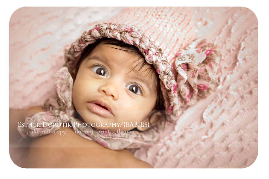 3-month-baby-photography-of-infant-girl-with-pink-knit-hat-by-Frisco-newborn-photographer