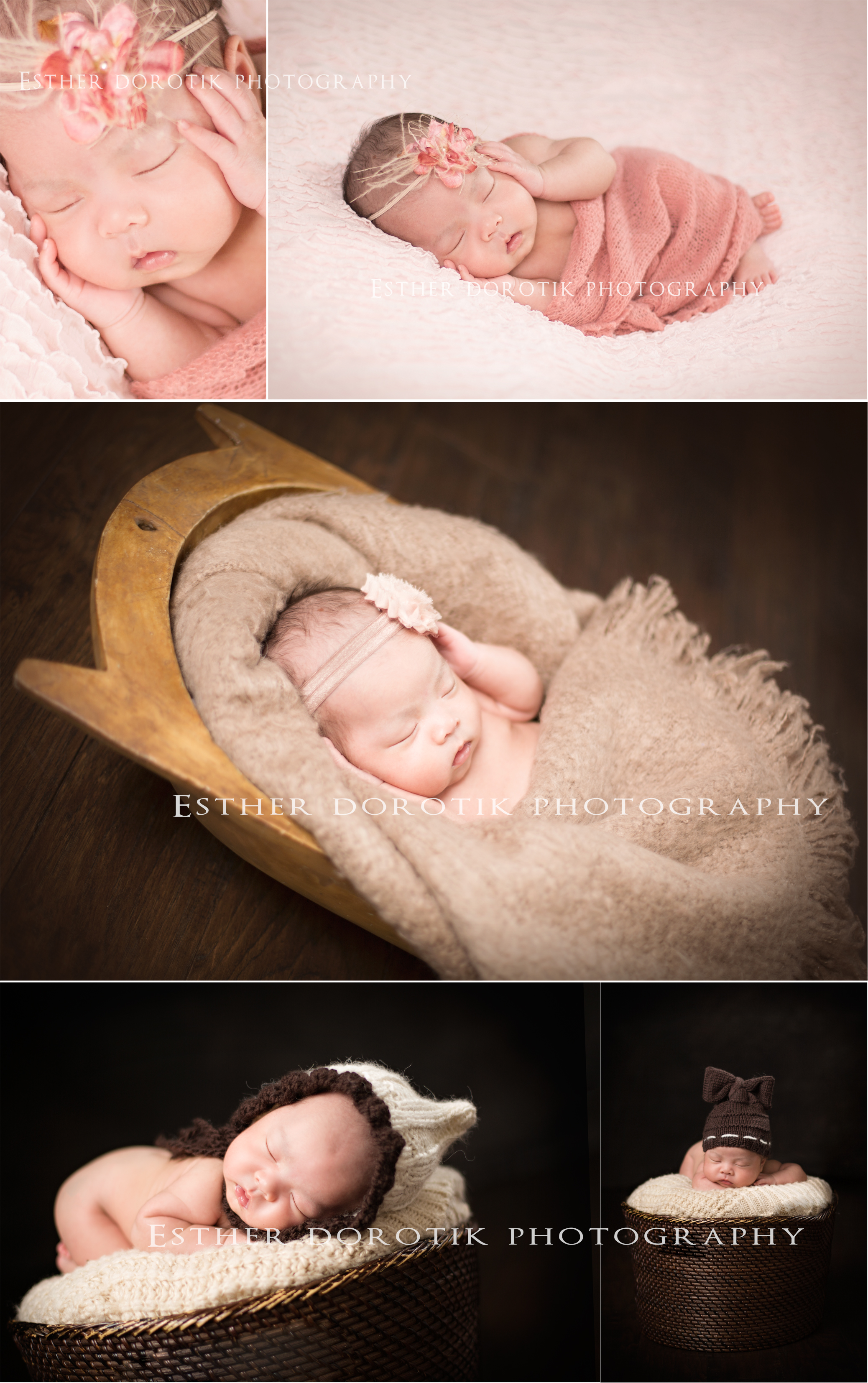 newborn-photography-of-4-week-old-baby-girl-in-baskets-with-bows-by-Dallas-newborn-photographer