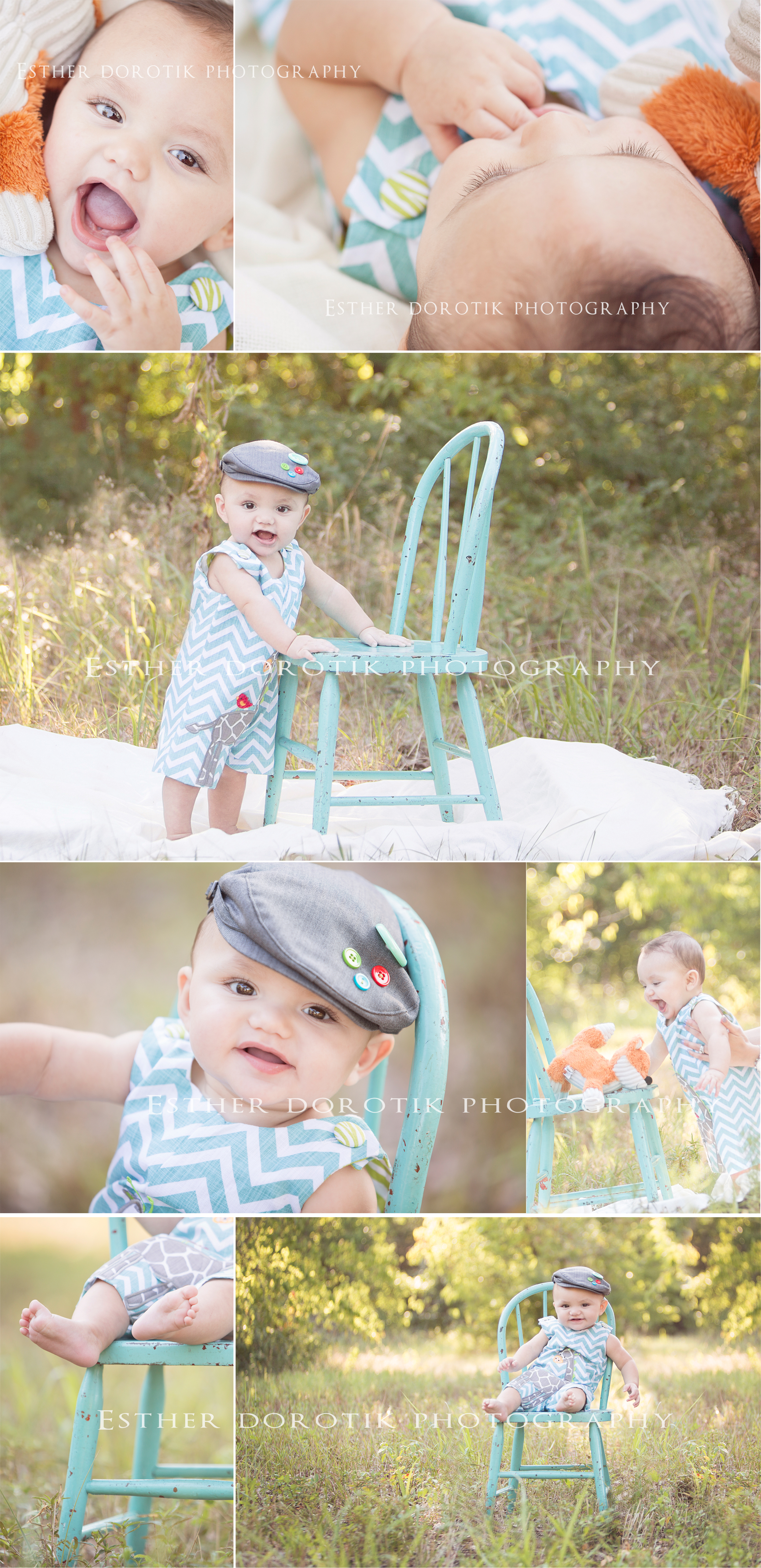6-month-baby-photography-of-little-boy-sitting-in-teal-chair-in-bright-field-by-Fort-Worth-baby-photographer