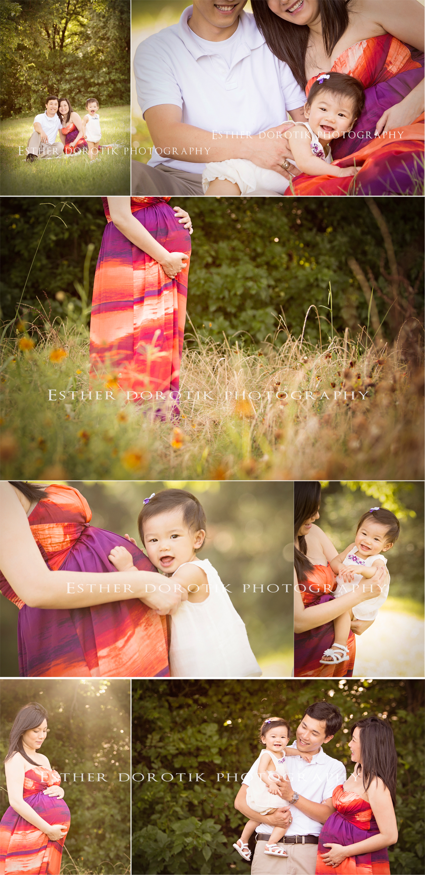 family-photography-of-baby-with-pregnant-mommy-in-flower-field-by-Keller-newborn-photographer