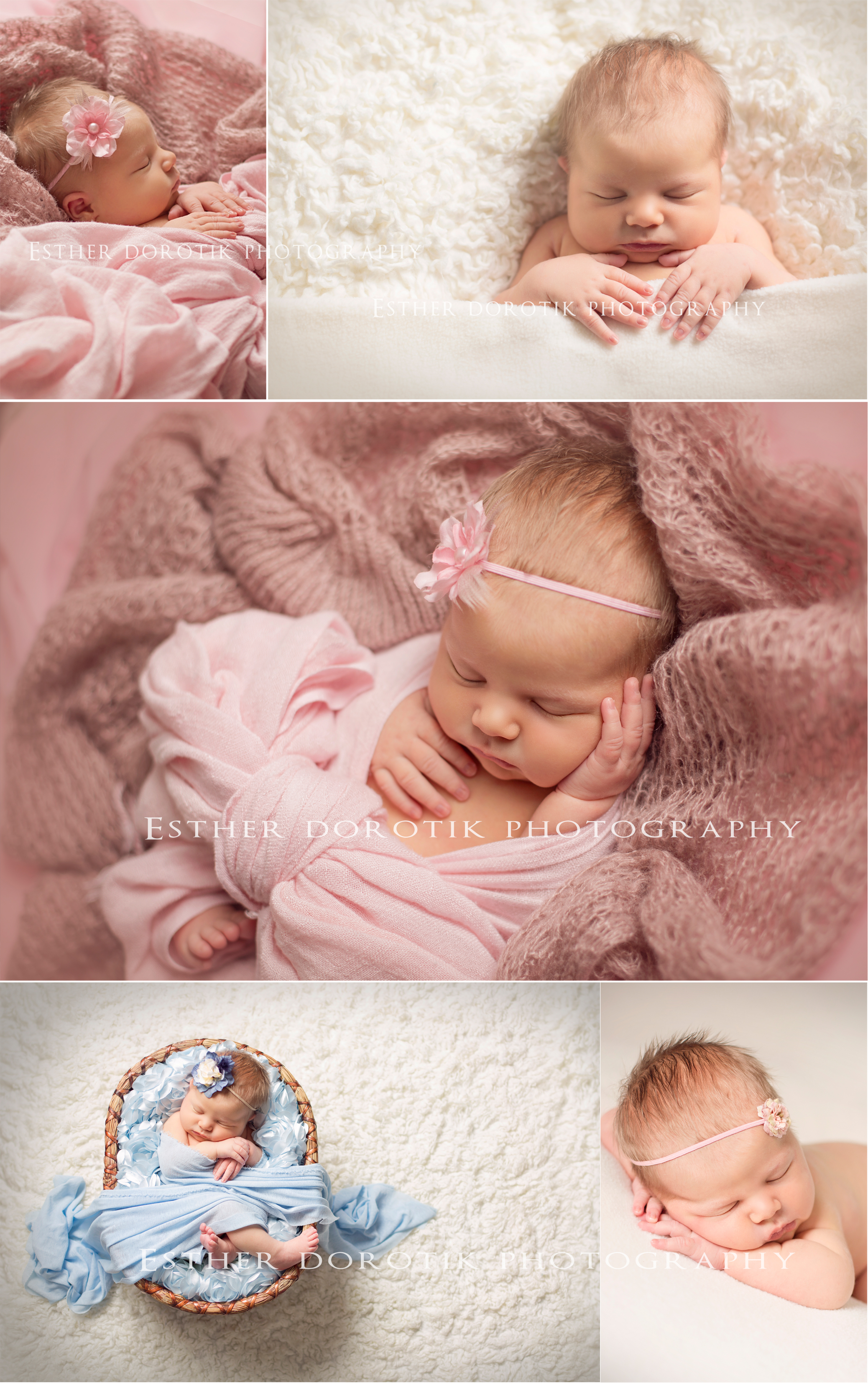 newborn-photo-of-baby-girl-wrapped-in-knt-laying-in-basket-by-Lewisville-newborn-photographer