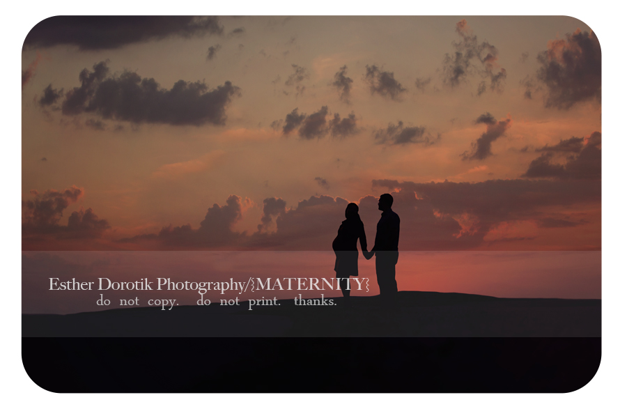 silhouette-picture-of-pregnant-couple-holding-hands-with-beautiful-sunset-sky-by-Dallas-maternity-photographer