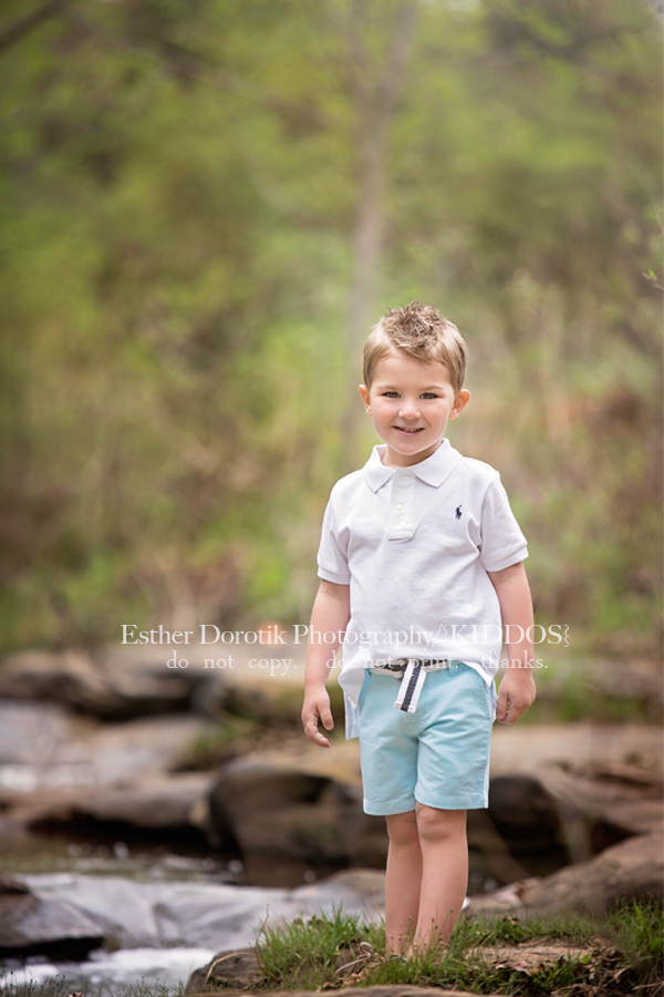 picture-of-3-year-old-boy-standing-in-creek-by-Dallas-child-photographer