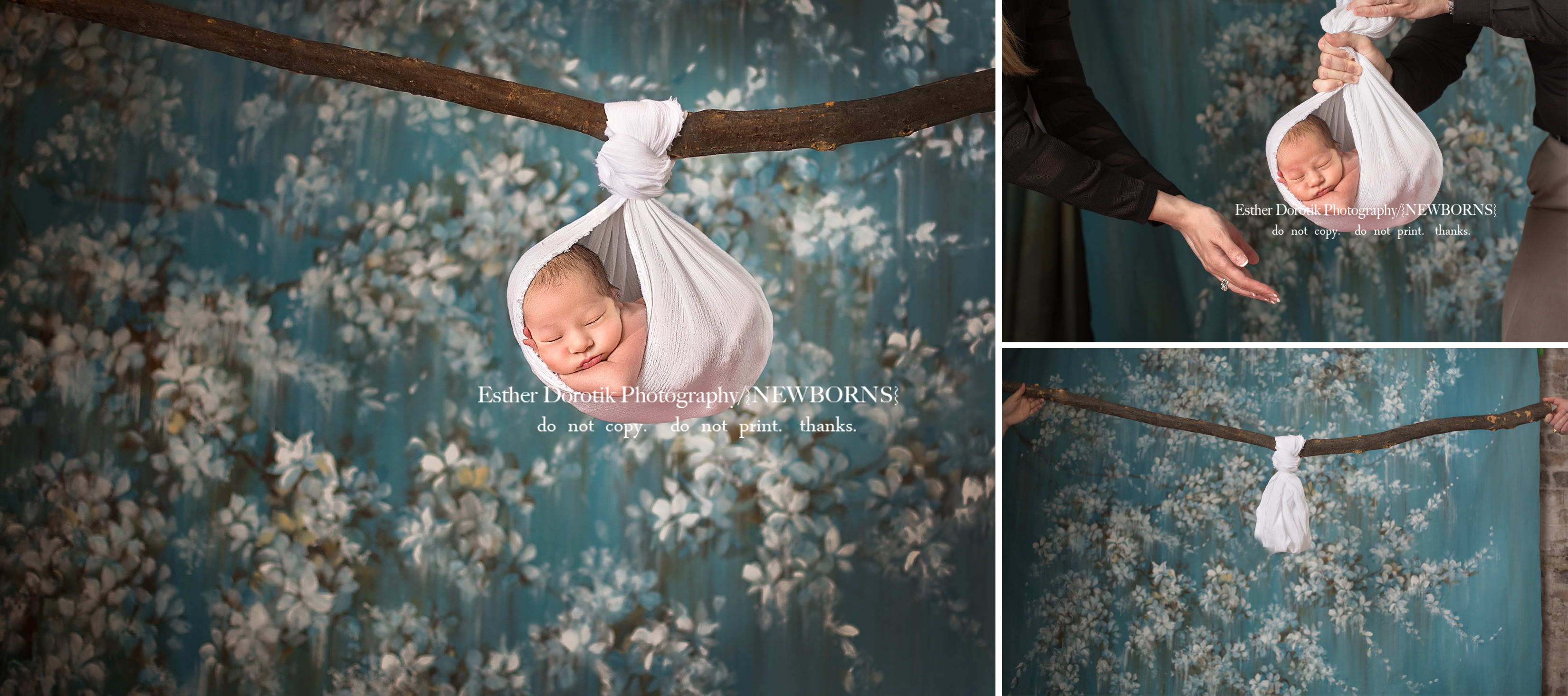 behind-the-scene-newborn-composite-of-baby-hanging-from-tree-by-Grapevine-newborn-photographer