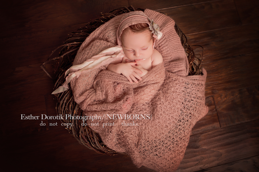 photo-of-newborn-girl-in-twig-basket-with-pink-wrap-by-Flower-Mound-newborn-photographer